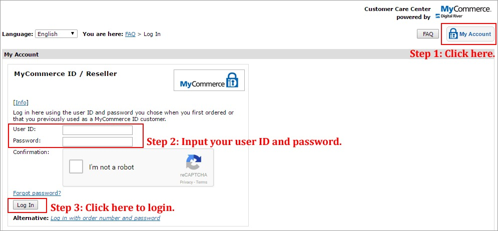 MyCommerce Login Image