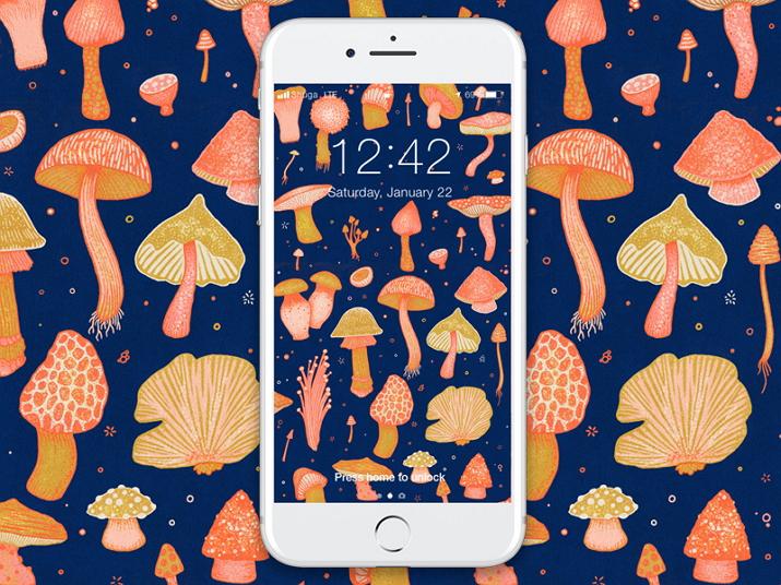 Magical Mushroom Background Pattern