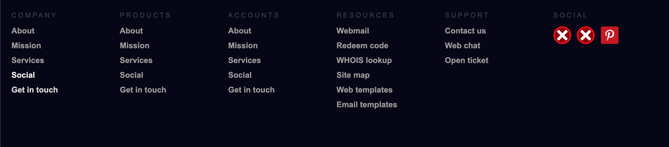 HTML CSS Mobile Responsive Footer