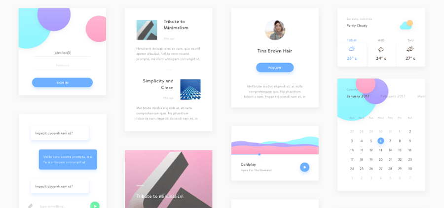 Free Mobile Minimal UI Kit