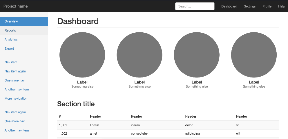Bootstrap Dashboard Example