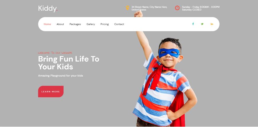 Kiddy Free Bootstrap Kindergarten Education Website Template