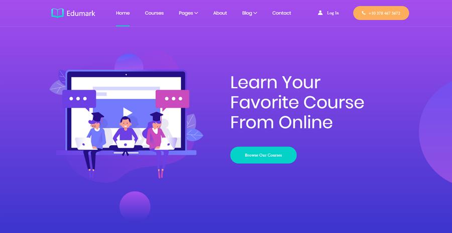 Edumark Free Bootstrap Online School Education Website Template