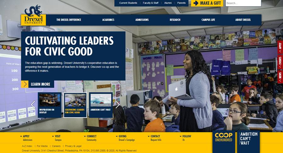 Drexel University Education Website Example