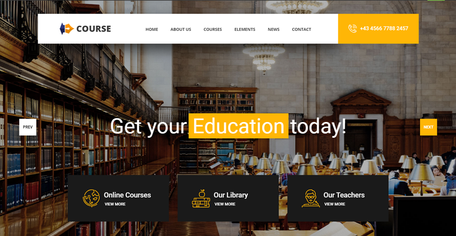 Course Free Bootstrap University Education Website Template