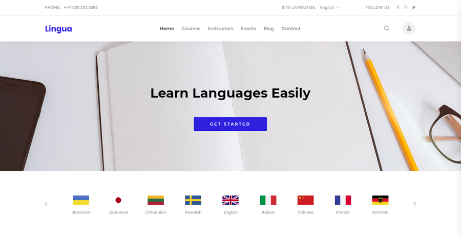 Lingua Free Bootstrap Language Website Template