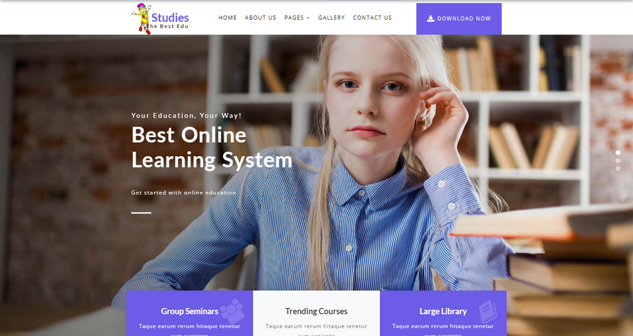 Studies Free Bootstrap Responsive Education Website Template