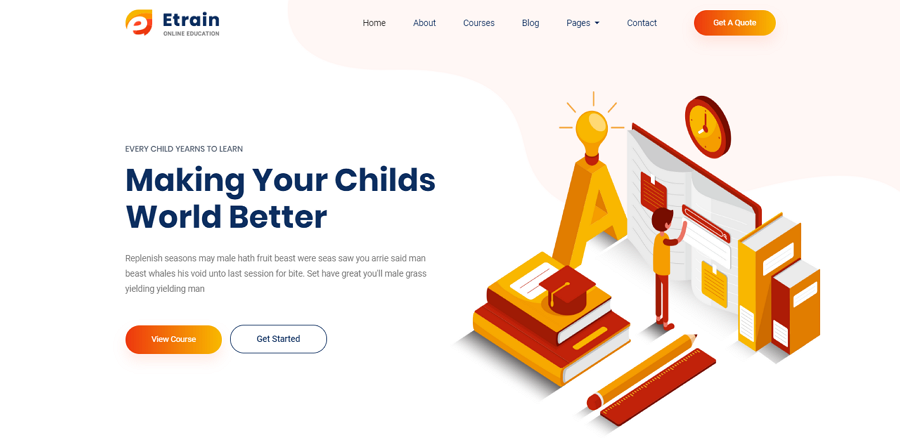 Etrain Free Bootstrap Online Education Website Template