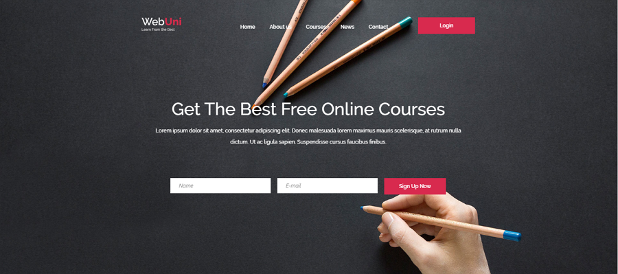 Webuni Free Bootstrap Online Course Education Website Template