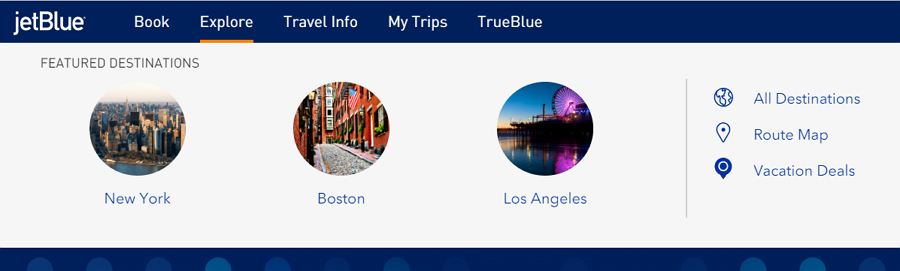 JetBlue Drop Down Menu with Icons and Images