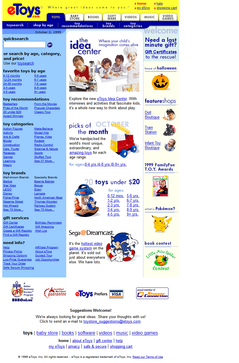 etoy website looked like in 1999