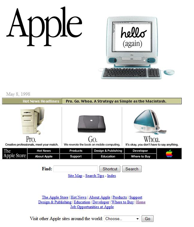 Apple website looked like in 1998