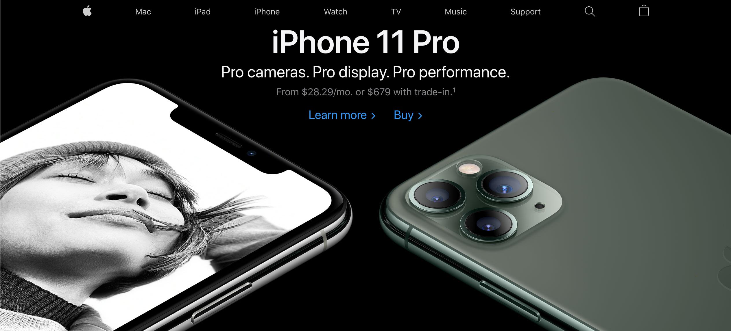 Apple's website looks today