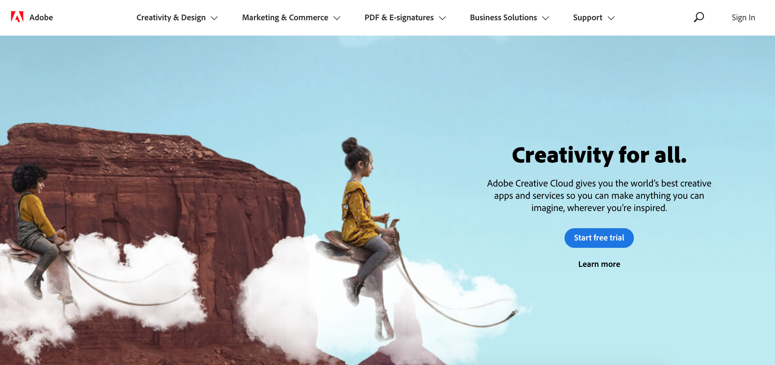 Adobe new website