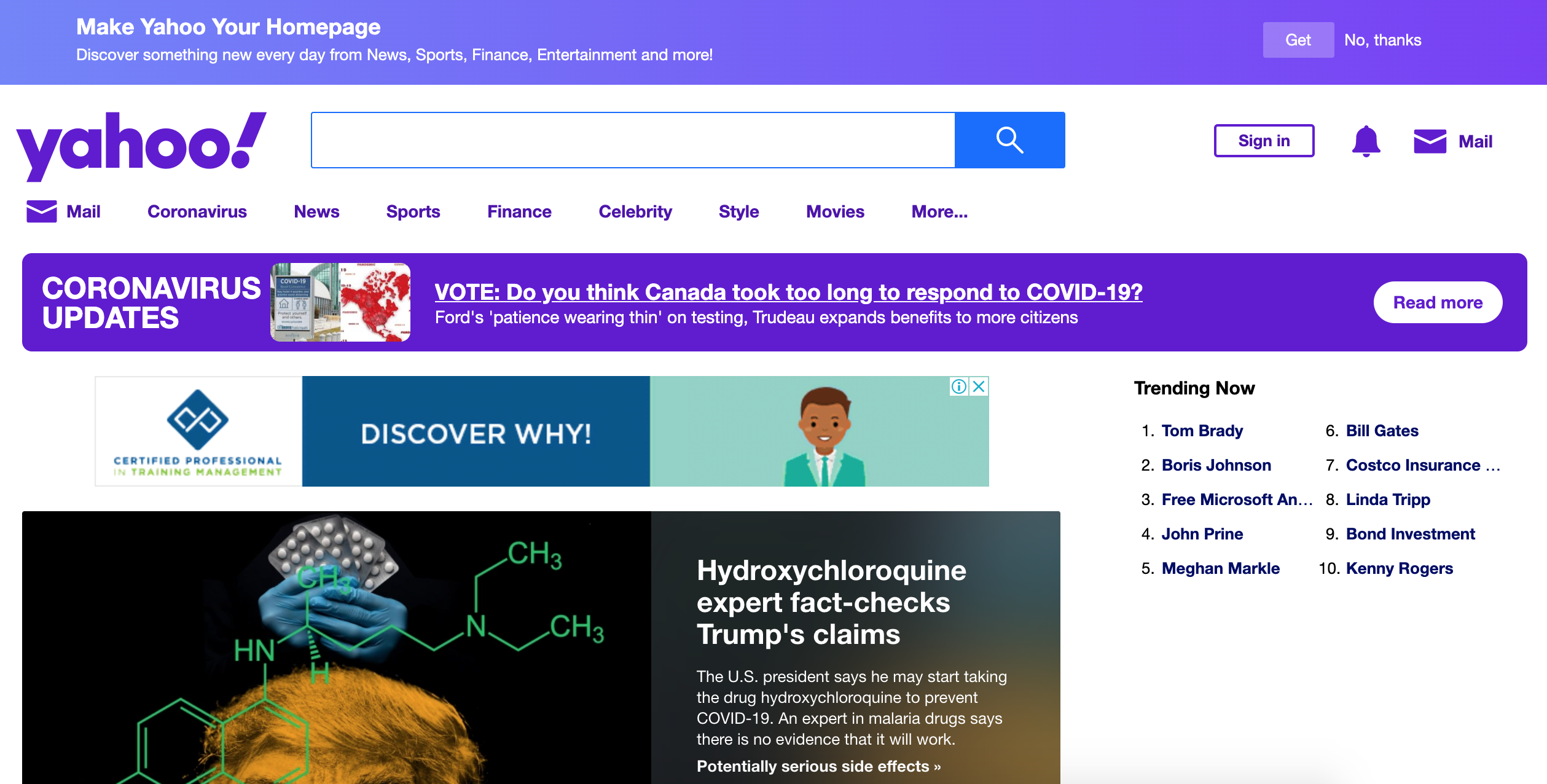Yahoo new website design