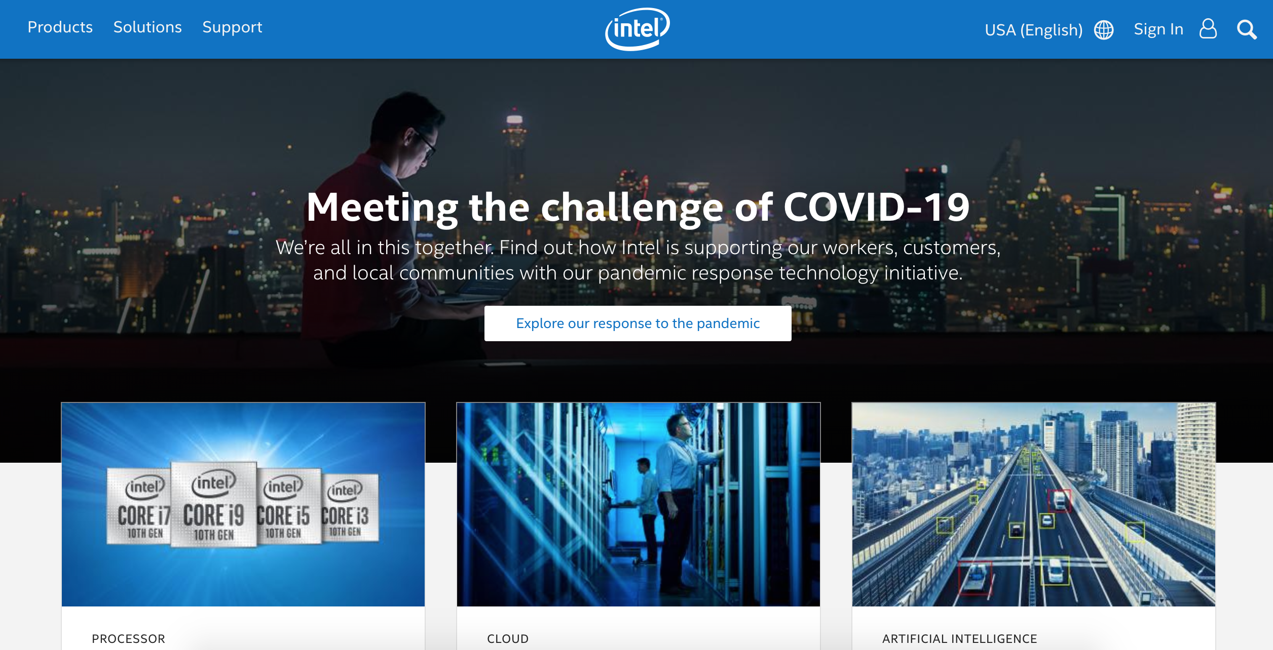 Intel website look like today