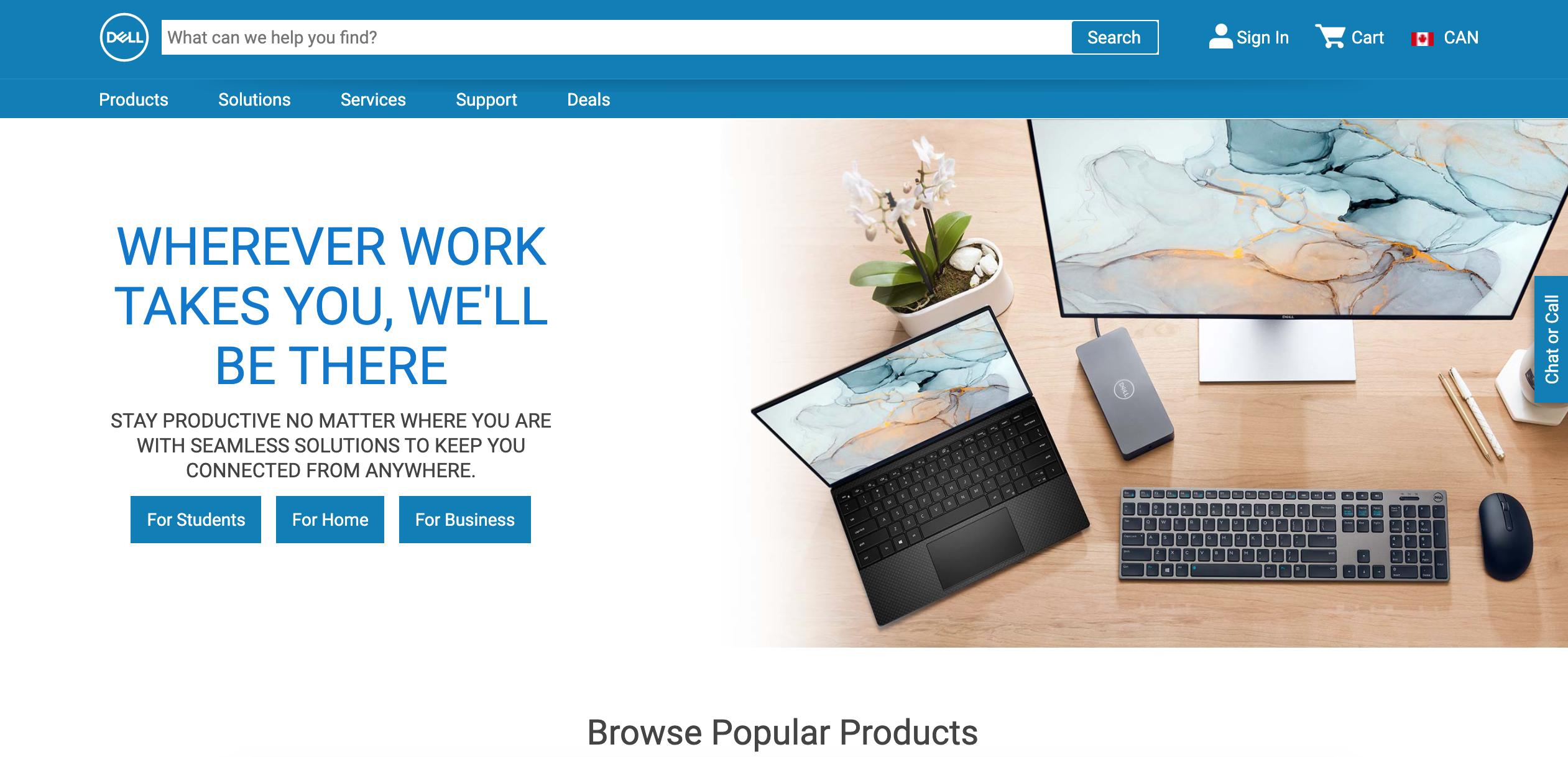 Dell new website design