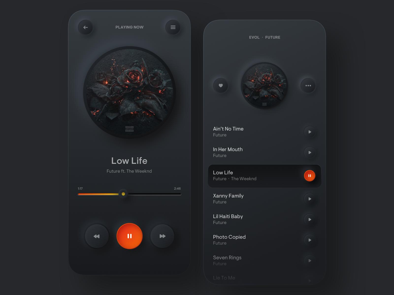Music Player in dark mode