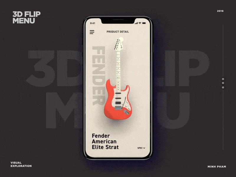 3D flip menu