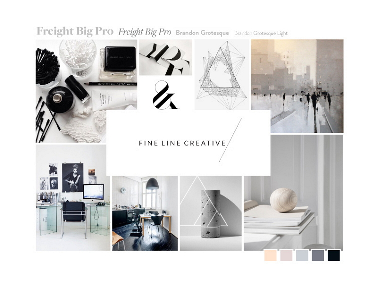 Mood Board for Fine Line Creative Website