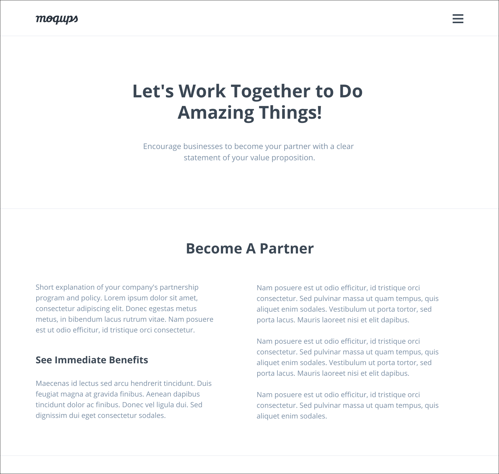 Partnership page template
