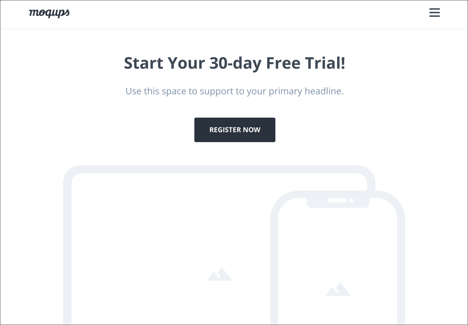 Free trial landing page template