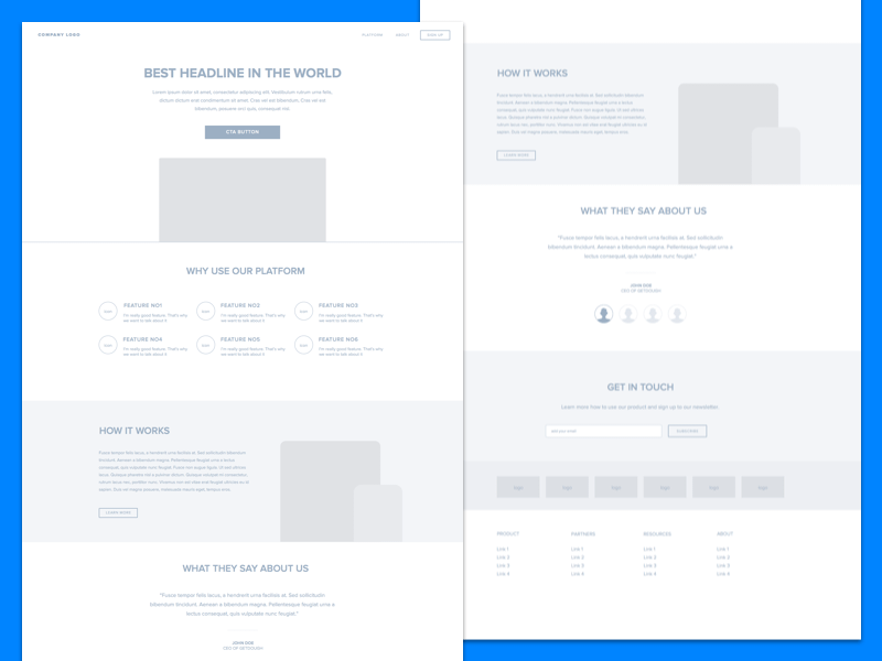 Landing page wireframe Sketch resource