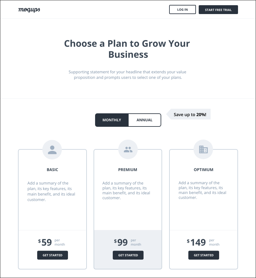 Pricing page template