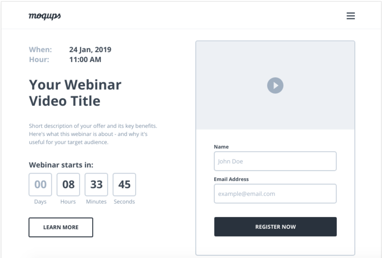 Webinar registration page template