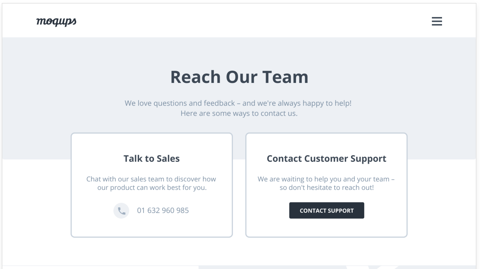 Contact landing page template