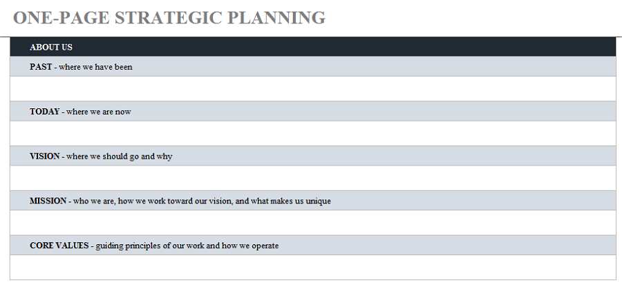 Free One-Page Design Strategy Template