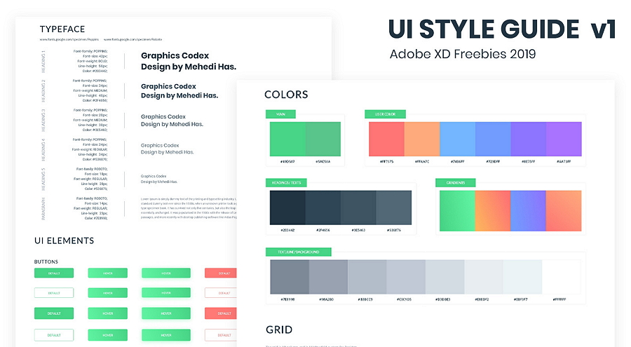 Free Creative Adobe XD UI style guide template