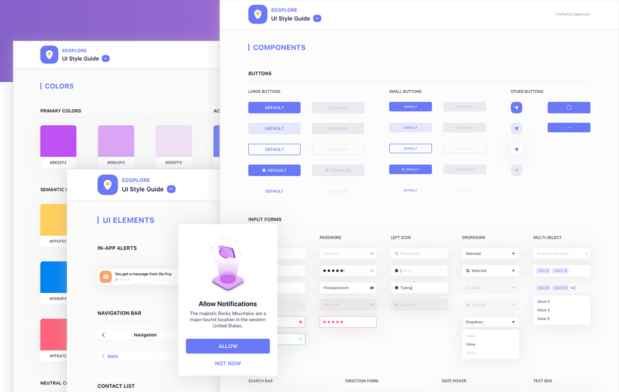 Free Eggplore Sketch UI Style Guide Template
