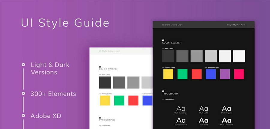 Free UI Style Guide Template for Adobe XD