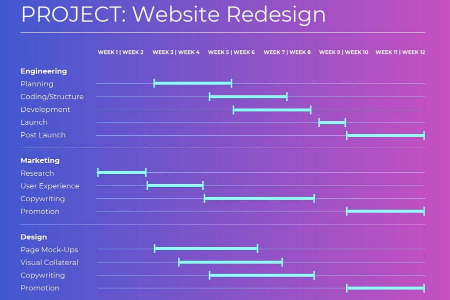 Website Redesign Gantt Chart Example