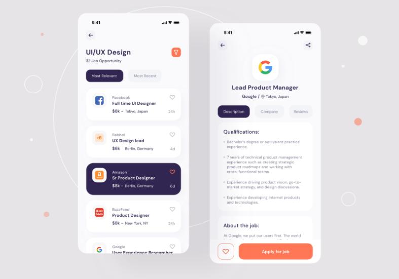 Job finder Mobile UI Job list