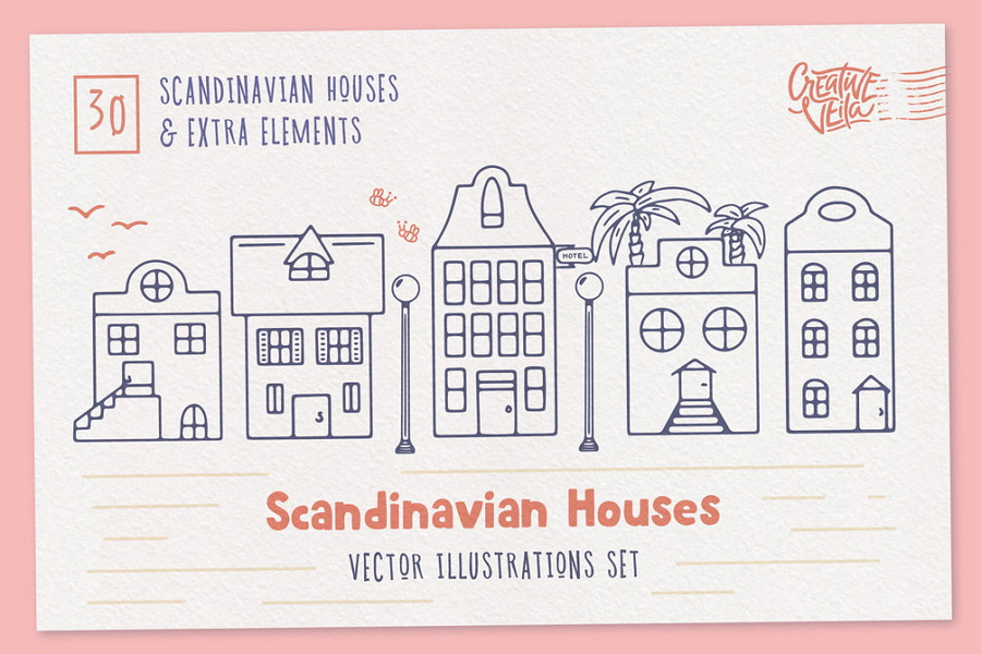 Scandinavian Houses Free Vector Images