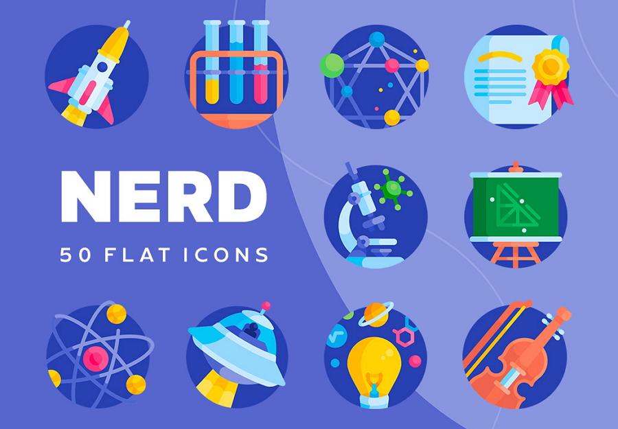 Nerd Free Vector Flat Icon Set