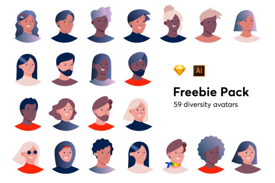 Free Diversity Avatars Vector Images