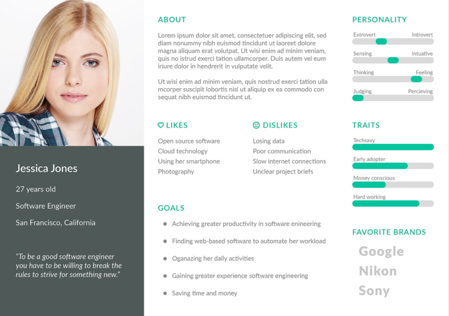 User Persona Template PSD Free Download