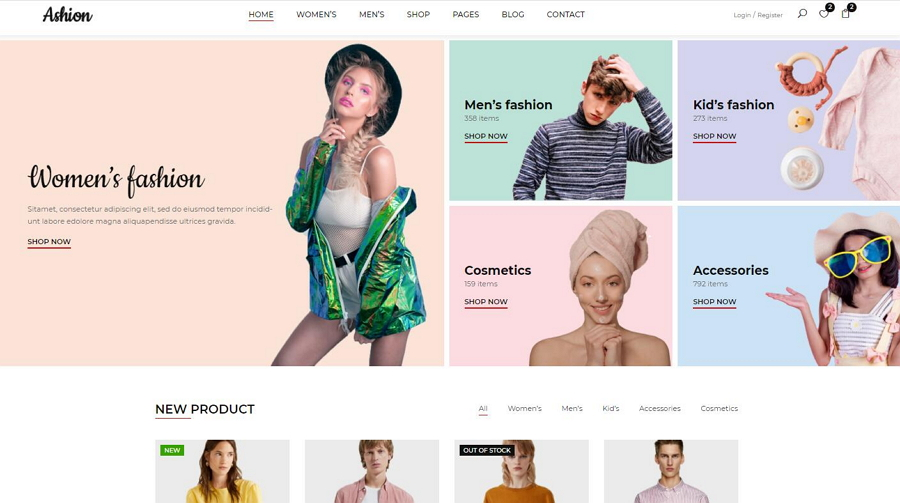 Ashion Free Bootstrap Template