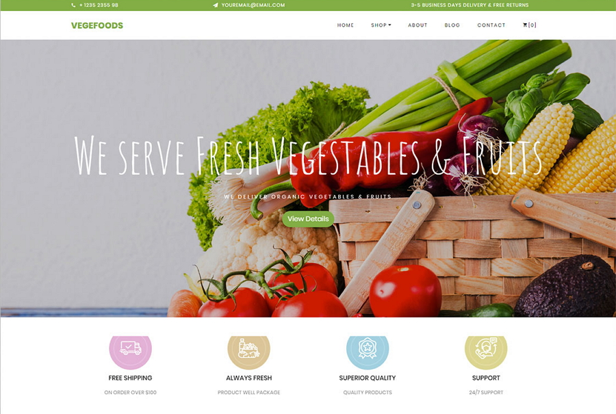 Vegefoods Free Ecommerce Template