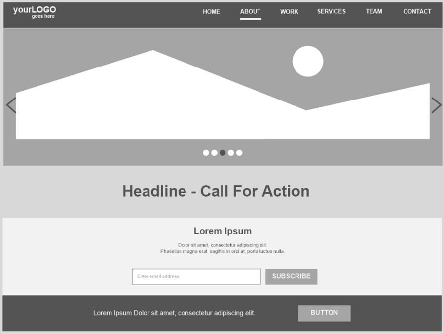 Home Page Hero and Navigation Wireframe