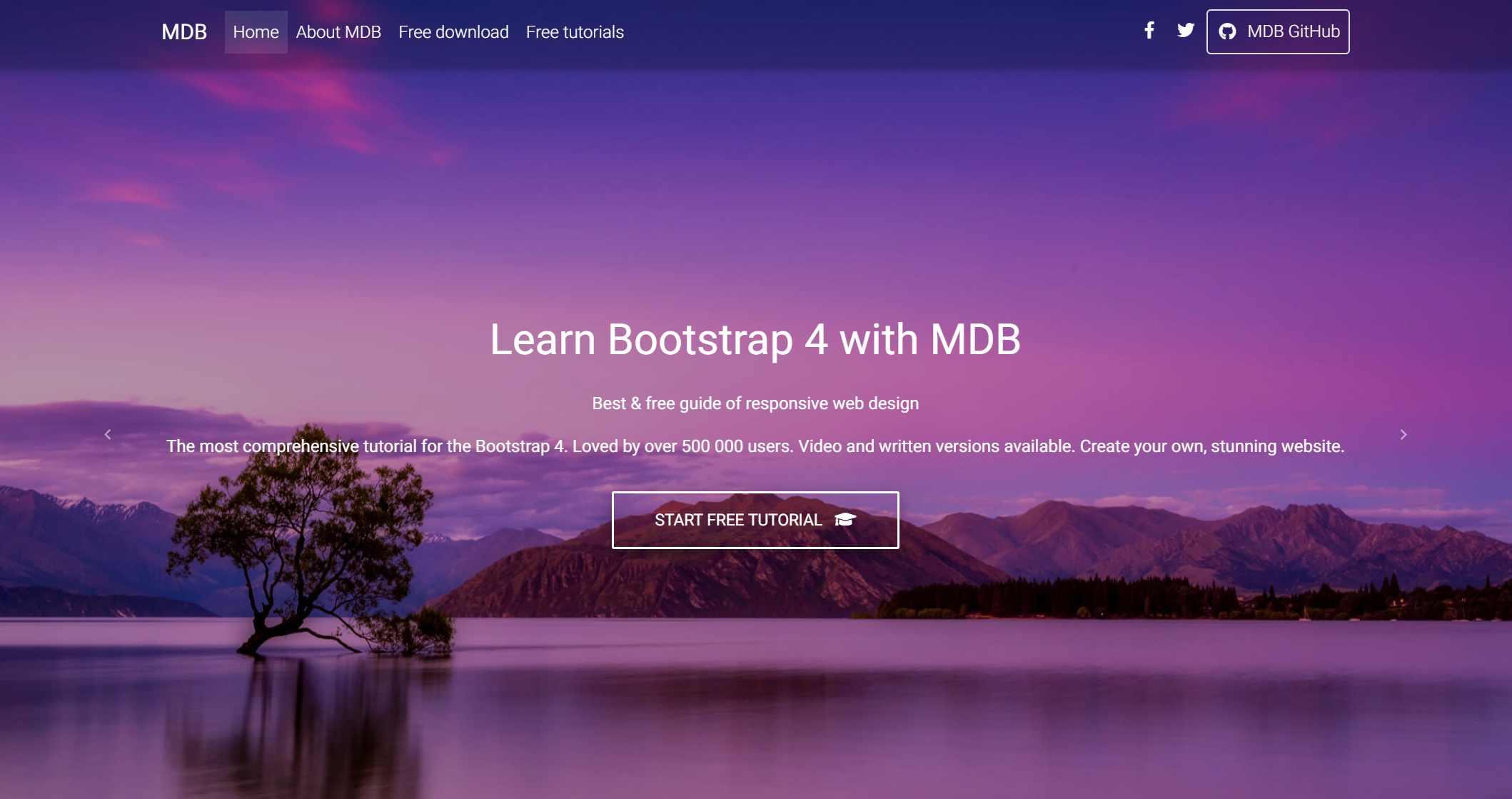 Bootstrap 4 & Material Design -Portfolio Example
