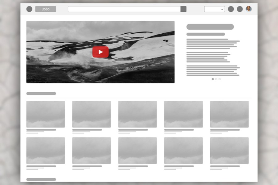 Low-Fidelity Wireframe Explore More Video Aggregator
