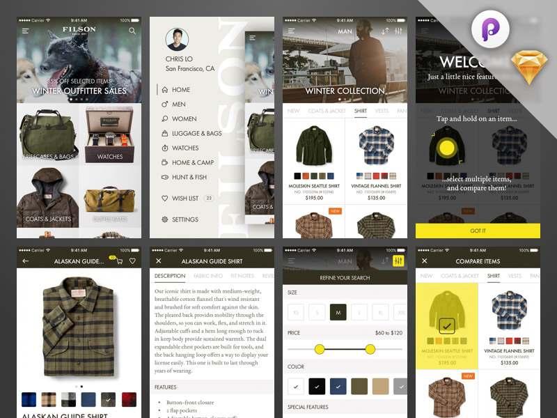 Shop iOS App - UI and Prototype Sketch Resource