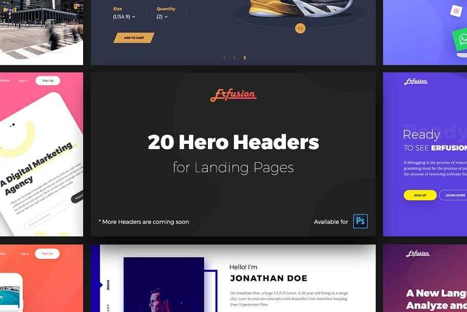 Web UI kit - 20 Hero Headers