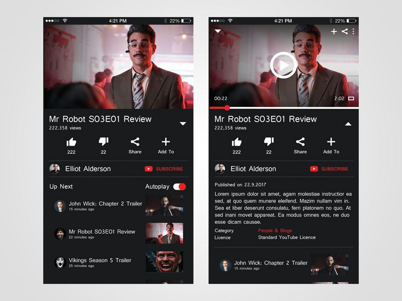 Mobile first design examples-Youtube