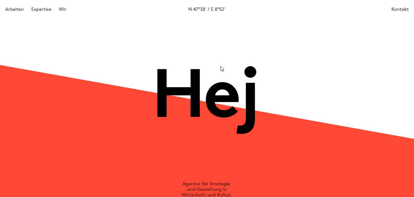 Hej - minimal black and white website sample