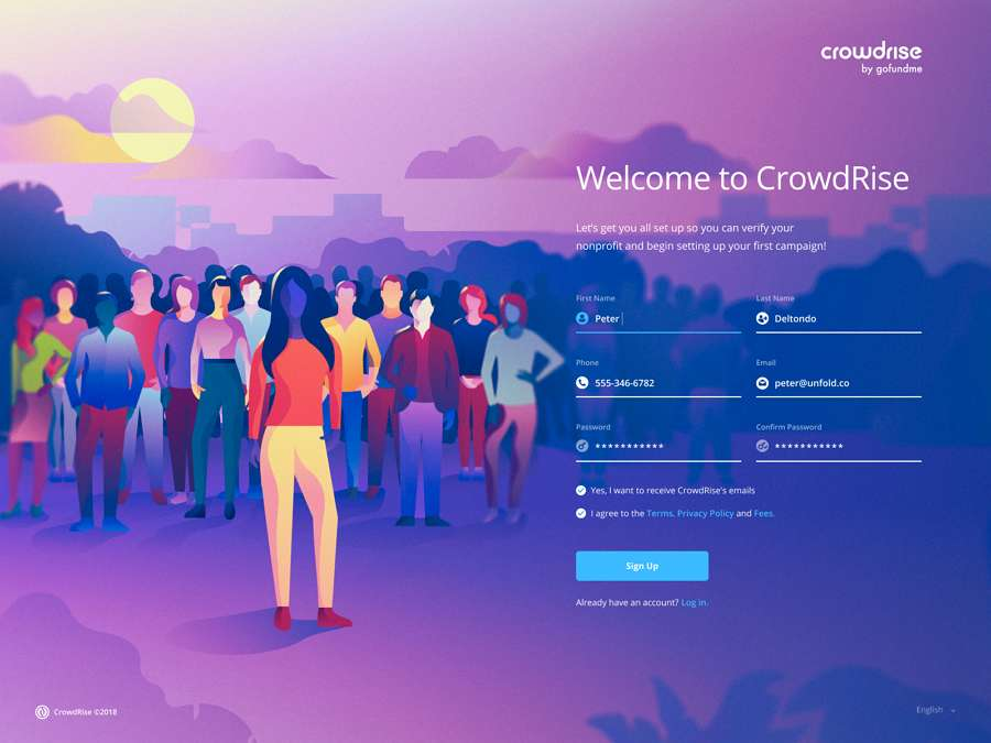 Web design trends 2019 - 3 illustration - crowdrise - signup